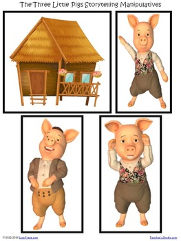 The Three Little Pigs Storyboard Manipulatives & Reader's Theatre Script