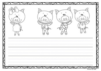Write your own! The Three Little Pigs story writing activity! *Dotted Lines*