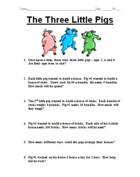 The Three Little Pigs Word Problem Story