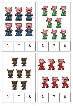 The Three Little Pigs counting clip cards