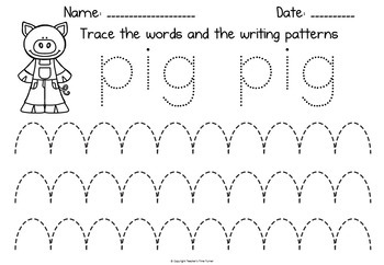 The Three Little Pigs early writing patterns