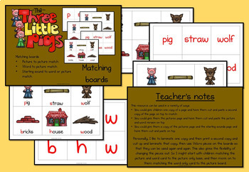 The Three Little Pigs mix and match matching cards
