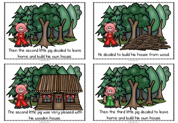 The Three Little Pigs story sequencing flashcards