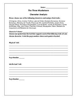 The Three Musketeers Character Analysis Activity - Alexandre Dumas