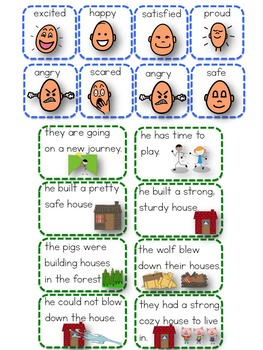 The Three Pigs Booklet Interactive Feelings Reason Story retell paper dolls