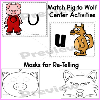 Letters,Shapes,Glyph and Retelling ~The Three Pigs~ For PK-Kindergarten