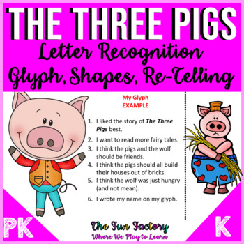 Letter Recognition Activities, Shapes, Glyph and Retelling PreK and K