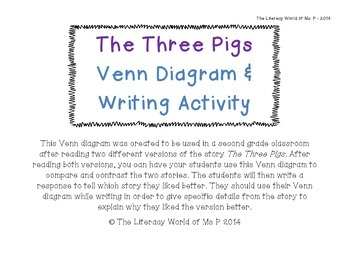 The Three Pigs Venn Diagram & Writing Activity