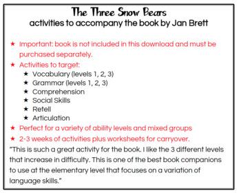The Three Snow Bears (Speech Therapy Book Companion)