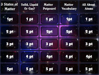 The Three States of Matter Jeopardy Game PowerPoint