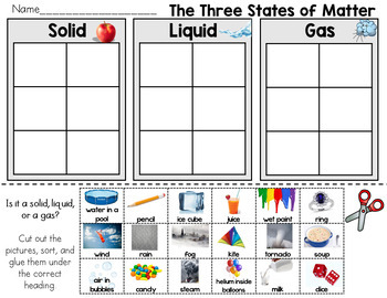 The Three States of Matter, Solid, liquid, Gas Sort ...