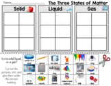 The Three States of Matter, Solid, liquid, Gas Sort Worksheet