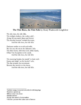 The Tide Rises, The Tide Falls by Longfellow - Poetry Analysis Assessment Quiz