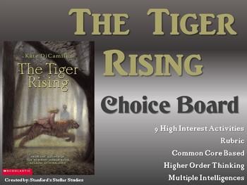 The Tiger Rising Choice Board Novel Study Activities Menu Book Project Rubric