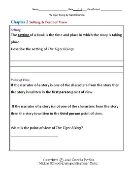 The Tiger Rising Complete Literature and Grammar Unit