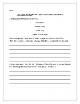 The Tiger Rising End of Book Written Assessment ~ 3rd Grad