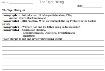 The Tiger Rising Novel Assignment
