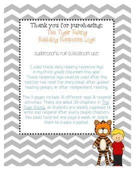 The Tiger Rising Reading Response Log - Kate DiCamillo