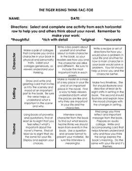 The Tiger Rising Tic Tac Toe Choice Boards