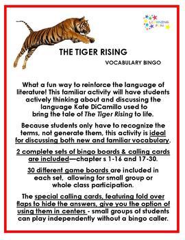 The Tiger Rising Vocabulary Bingo