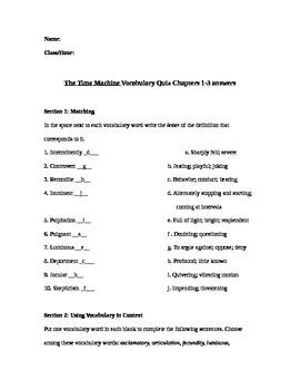 The Time Machine Vocabulary Quiz Ch 1-3
