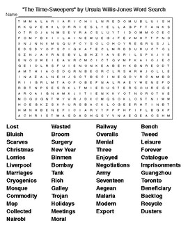 """""""The Time-Sweepers"""" by Ursula Willis-Jones Crossword &Wordsearch"""