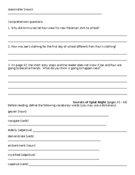 The Time We Ran Away vocabulary and comprehension worksheets
