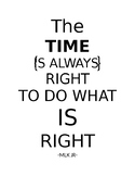 The Time is Always Right to Do What is Right- MLK JR
