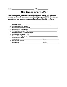 The Times of My Life- Timeline Preparation for Students