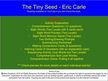 The Tiny Seed - Eric Carle - Earth Day Books, Book Study, Center Activities