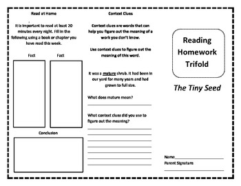 The Tiny Seed Reading Trifold