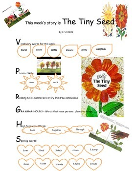 The Tiny Seed - Weekly Sheet - 2nd Grade Treasures