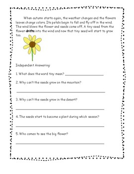 The Tiny Seed by Eric Carle, Guided Reading Sheet