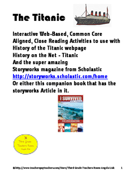 The Titanic Interactive Web-Based, Common Core Aligned Close Reading Guide