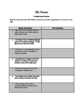 Paraphrasing Worksheets Teaching Resources | Teachers Pay Teachers