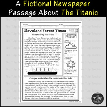 The Titanic Reading Comprehension Paired Passages