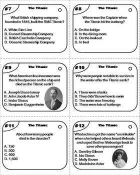 The Titanic Task Cards