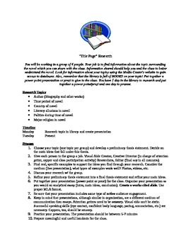The Title Page Research Presentation Project for Literature