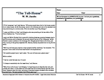 """""""The Toll-House"""" by W.W. Jacobs: Annotation Organizer"""