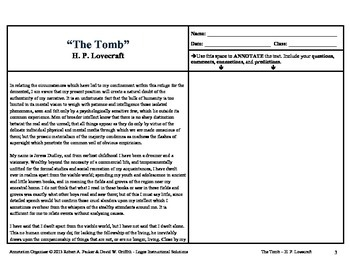"""""""THE TOMB"""" by H. P. Lovecraft: Annotation Organizer"""