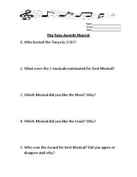 The Tony Awards Musical Worksheet