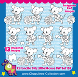 The Tooth Mouse Clipart Black and White, Little Mouse Set 155