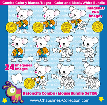 The Tooth Mouse Clipart Bundle, Color and Black/White, Little Mouse Set 156