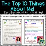 """Back to School Writing """"The Top 10 Things about Me!"""""""