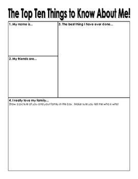 The Top 10 Things to Know About Me Student Worksheet