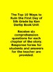 The Top 10 Ways to Ruin the First Day of 5th Grade by Ken Derby Book UNIT