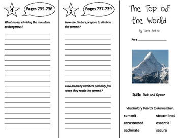 The Top of the World Trifold - Storytown 5th Grade Unit 6 Week 3