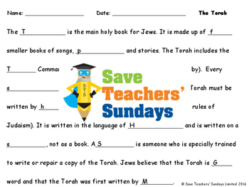 The Torah Lesson plan, Cards and Worksheets
