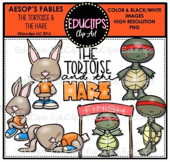 The Tortoise & The Hare (Aesop's Fable) Clip Art Bundle {E