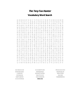 The Tory Fox Hunter Vocabulary Word Search - Addison